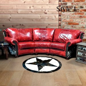 cowhide western furniture living room theater conversational sofa highlander style 1