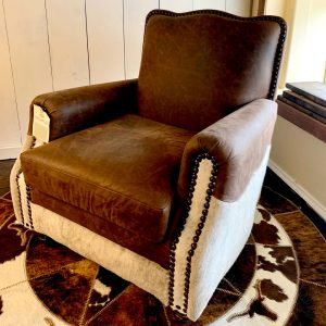 cowhide western furniture accent chair brown JG