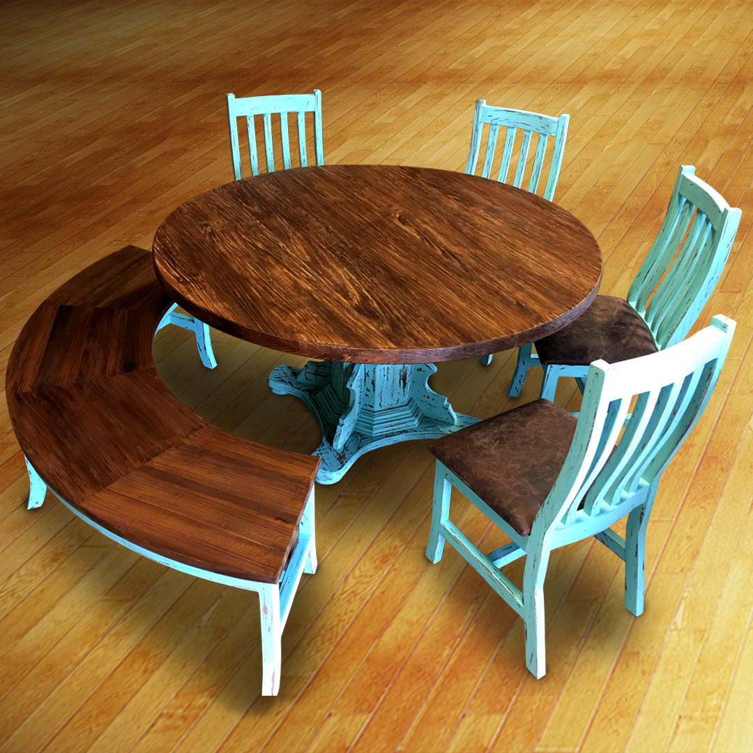 Curved Bench Dining Set Cowhide Western Furniture