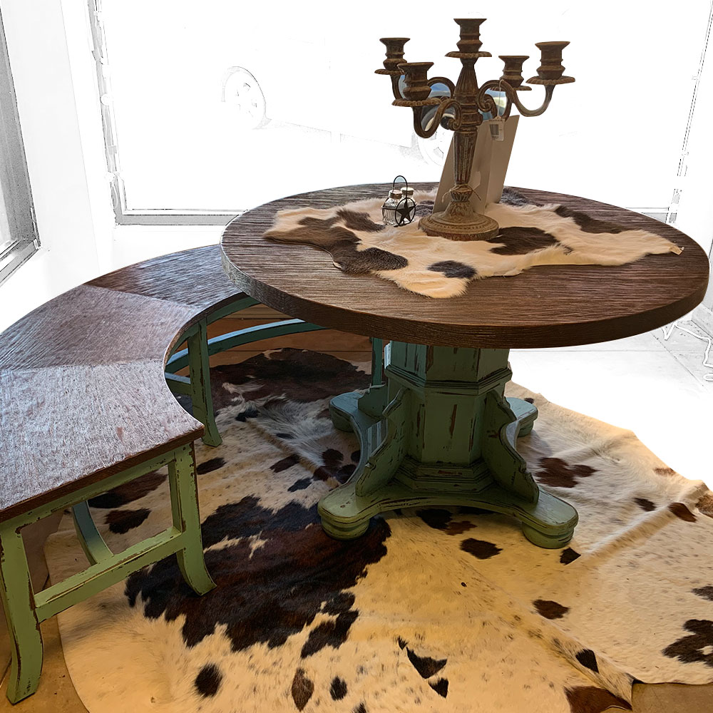 """Round Table with Curved Bench - 48"""" Diameter"""