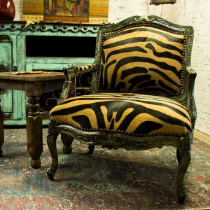 cowhide western furniture accent chair with zebra hide floor sample